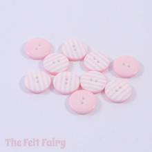 Pale Pink Stripy Buttons - 12mm - 10 Buttons