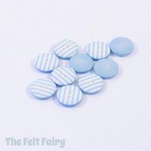 Aqua Stripy Buttons - 12mm - 10 Buttons