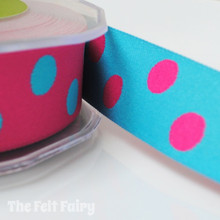 Cerise and Turquoise Reversible Polka Dot Ribbon