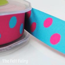 Cerise and Turquoise Reversible Polka Dot Ribbon