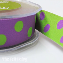 Purple and Lime Reversible Polka Dot Ribbon