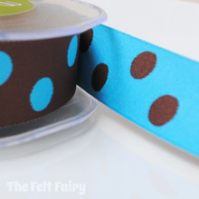 Turquoise and Brown Reversible Polka Dot Ribbon