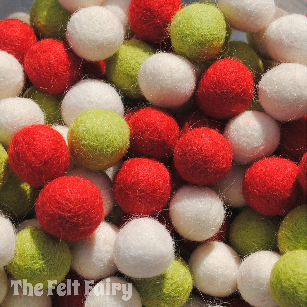 Wool Felt Ball Collections Mixed Colours 35 Balls 2cm Size  GARLAND MAKING