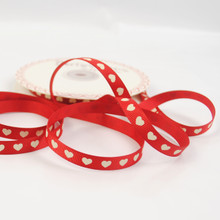 Ivory Heart / Red Grosgrain Ribbon