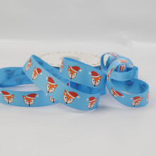 Santa Hat Foxes! - Turquoise Grosgrain Ribbon