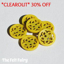 Filigree Button - Yellow