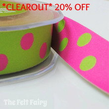 *1.95 metre* Cerise and Lime Reversible Polka Dot Ribbon
