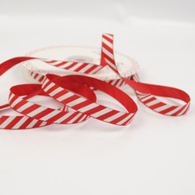 Candy Stripe Red and White Grosgrain Ribbon