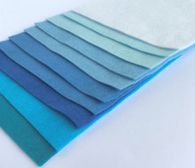 Blues Bundle 10 Sheets of Wool Blend Felt - 4 sheet sizes