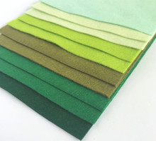 Greens Bundle 10 Sheets of Wool Blend Felt - 4 sheet sizes