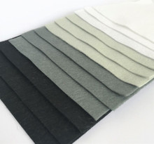Monochrome 12 Sheets of Wool Blend Felt - 4 sheet sizes