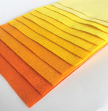 Yellows & Oranges - 12 Sheets of Wool Blend Felt - 4 sheet sizes
