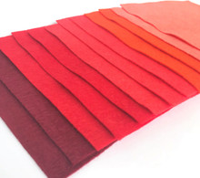 Reds - 12 Sheets of Wool Blend Felt - 4 sheet sizes