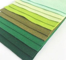 Greens - 12 Sheets of Wool Blend Felt - 4 sheet sizes