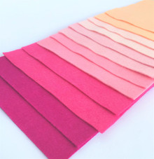 Pinks - 12 Sheets of Wool Blend Felt - 4 sheet sizes