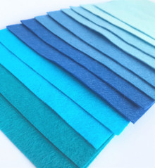 Blues - 12 Sheets of Wool Blend Felt - 4 sheet sizes