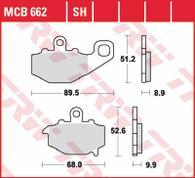 TRW Pastilla de Freno Trasera para Kawasaki Versys 650 07-14/Ninja 400/600/650/900/1000 (MCB662SH)