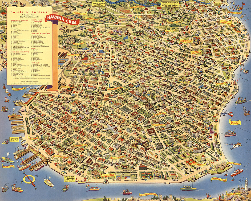 photograph regarding Printable Map of Havana called A Pic-Excursion Map of Havana. Wherever in the direction of move - What in direction of do- How toward watch 1952