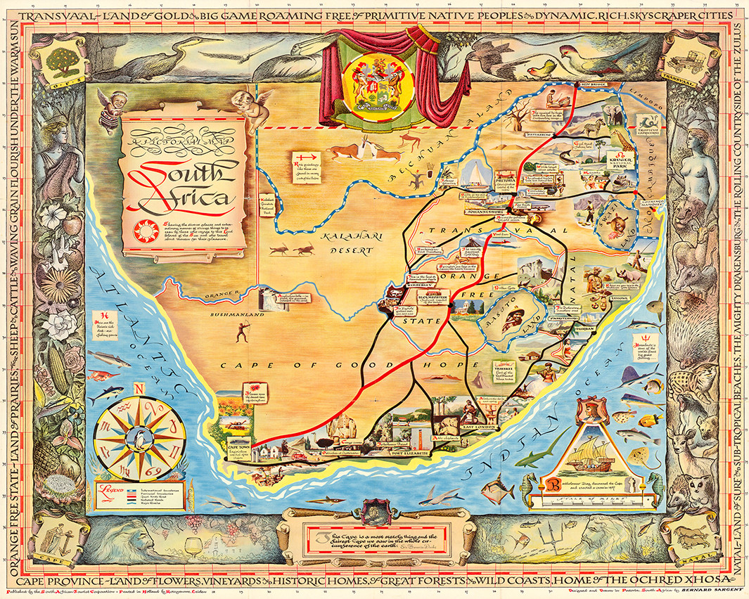 Map Of Africa 1950.A Pictorial Map South Africa 1950