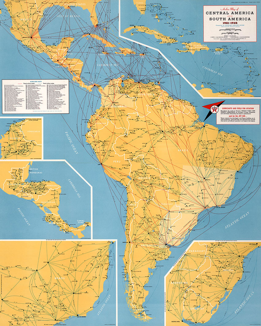 Airline Map of Central America and South America