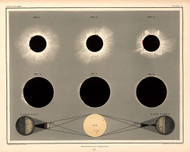 Atlas of Astronomy by Alex Keith Johnston Plate - 5. Eclipse of the Sun 1869