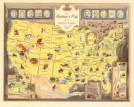 Book lovers Map of the United States 1949