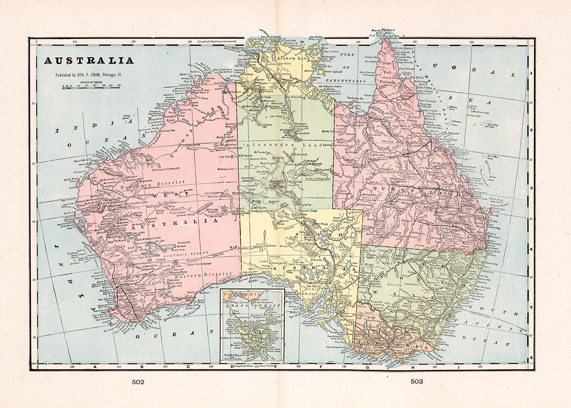 Map Of Australia 1901.Australia 1901