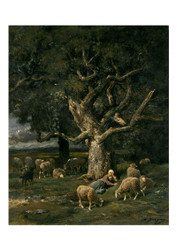 Charles Jacque - Shepherdess And Her Sheep