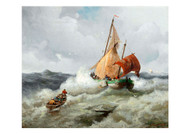 Adolf Kaufmann - Vienna Fishing Boat In A Rough Sea