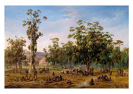 Alexander Schramm - An Aboriginal Encampment Near the Adelaide Foothills