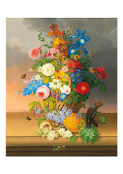Anton Fidler - A Large of Bouquet of Flowers in a Basket with Pineapple