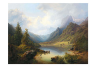 Anton Schiffer - A View of Hintersee with Reiteralm