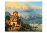 August Wilhelm John - A Scene on the Middle Rhine with a View of Ehrenfels Castle and Assmanshausen from Bigen