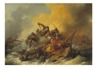 Phillpe Jacques Loutherbourg - Battle at Sea Between Soldiers and Oriental Pirates