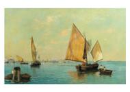 Carl Friedrich von Malchus - Venice Fishermen before Santa Maria Della Salute and St Mark's Basin