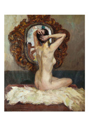 Ernst Liebermann - Female Nude Viewed from the Rear Sitting before a Mirror