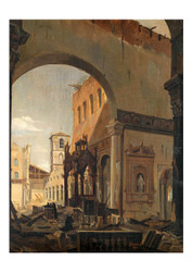 Francesco Diofebi - the Ruins of the Basilica di San Paolo Fuori le Mura in Rome after the Fire of 16 july 1823