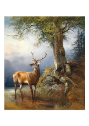 Frederick Gauermann - A Stag by Lake Gosau in the Bacground the Dachstein Massif