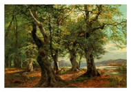 Heinrich Bohmer - Red Deer in a Beech Forest