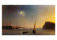 Jean Antoine - The Odore Gudin Entering the Harbour by the Breten Coast in the Moonlight