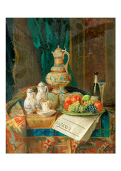 Josef Mansfeld - Still Life with Fruit Sparkling Wine and Decorative Objects
