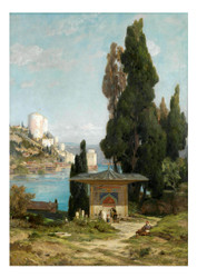 Jules Joseph Augustin Larens - The Mihris ah Valiide Sultan Fountain of the Sweet Waters of Asia in Istanbul with the Rumelihisar on the Bosporus