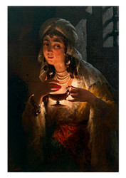 Luigi Crosio - A Young Turkish women with an Oil Lamp