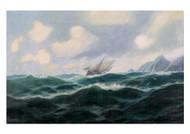 Max Jensen - SegelSchiff in Bewegtem Meer vor Einer Steilku Ste