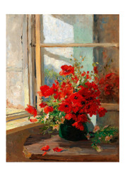 Olga Wisinger Florian - A Bouquet of Poppies by the Window