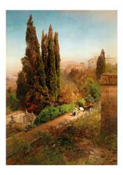 Oswald Achenbach - A View of the Garden of Villa D'este in Tivoli near Rome