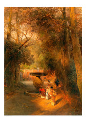 Oswald Achenbach - In the Park by the Fountain of Vila Torlonia in Frascati near Rome