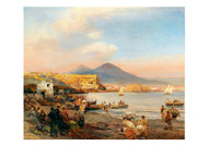Oswald Achenbach - Sunset in the Bay of Naples