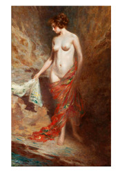 Paul Edouard créBassa - A Nude Standing by a River
