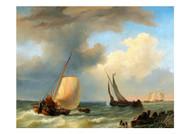 Pieter Arnoit Dyxhoorn - Fisingboats at Stormy Sea